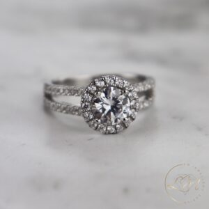 Round Halo Split Engagement Ring