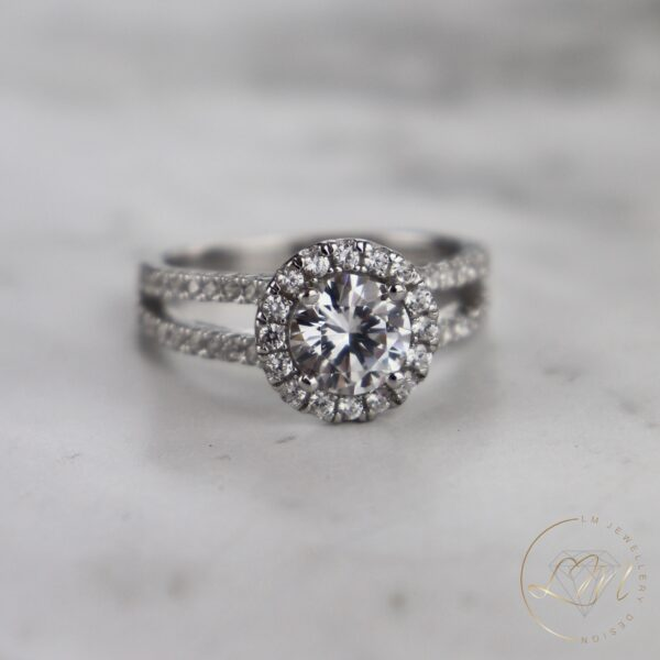 Round Halo Split Engagement Ring