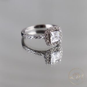 Princess Diamond Cushion Halo Engagement Ring