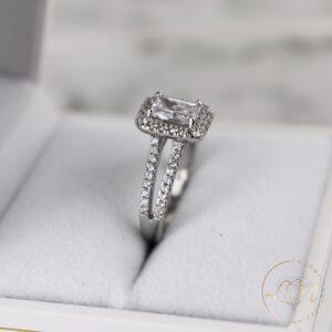 Emerald Halo Split Engagement Ring