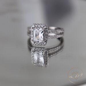 Emerald Cut Halo Engagement Ring
