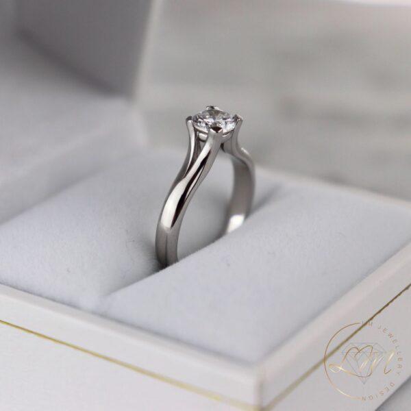 Elegant Round Diamond Split Engagement Ring