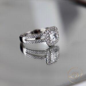 Cushion Cut Halo Split Engagement Ring