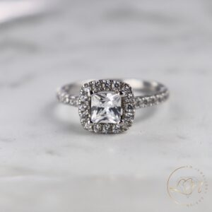 Princess Diamond Cushion Halo Engagement Ring