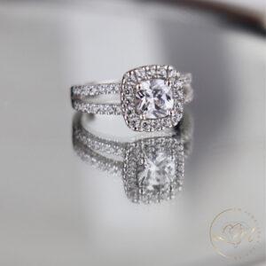 Cushion Halo Split Engagement Ring