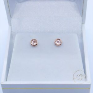 9ct Rose Gold Rose Quartz Stud Earrings
