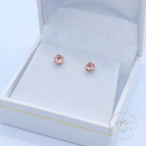 9ct Rose Gold Rose Quartz Stud Earrings