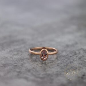 9ct Rose Gold Oval Bezel Set Ring