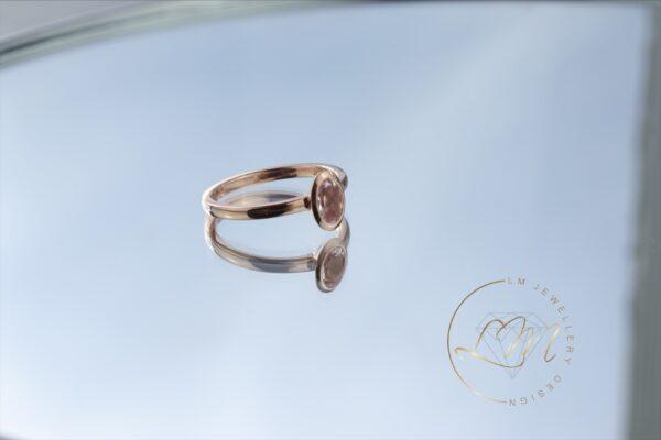 9ct Rose Gold Oval Bezel Set Ring