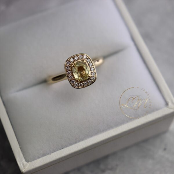 9ct Yellow Gold Halo Ring with a Cushion Yellow Sapphire