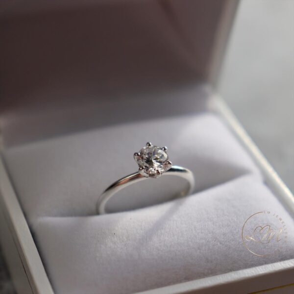 Six Claw Solitaire Knife Edge Engagement Ring