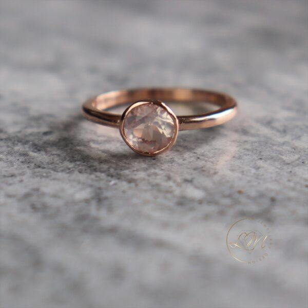 9ct Rose Gold Bezel set Rose Quartz Ring