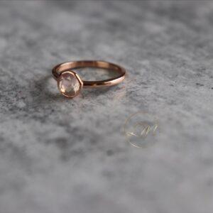 9ct Rose Gold Bezel set Rose Quartz Ring