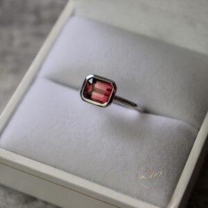 9ct White Gold Bezel Set Tourmaline Ring