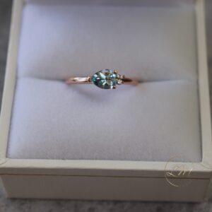 9ct Rose Gold Petite Topaz and Diamond Mini Cluster Ring