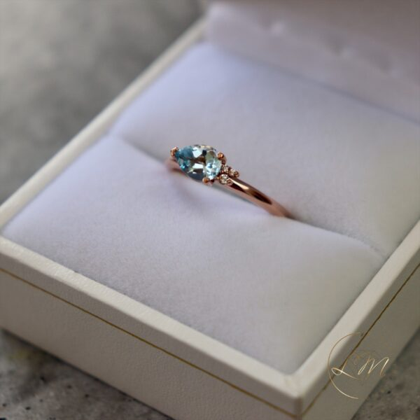 9ct Rose Gold Petite Topaz and Diamond Mini Cluster Ring