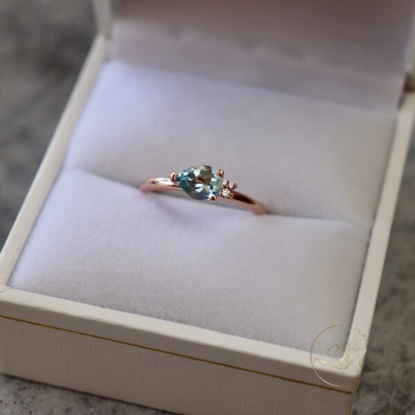 9ct Rose Gold Petite Topaz and Diamond Ring