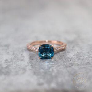 14ct Rose Gold London Blue Topaz & Diamond Ring